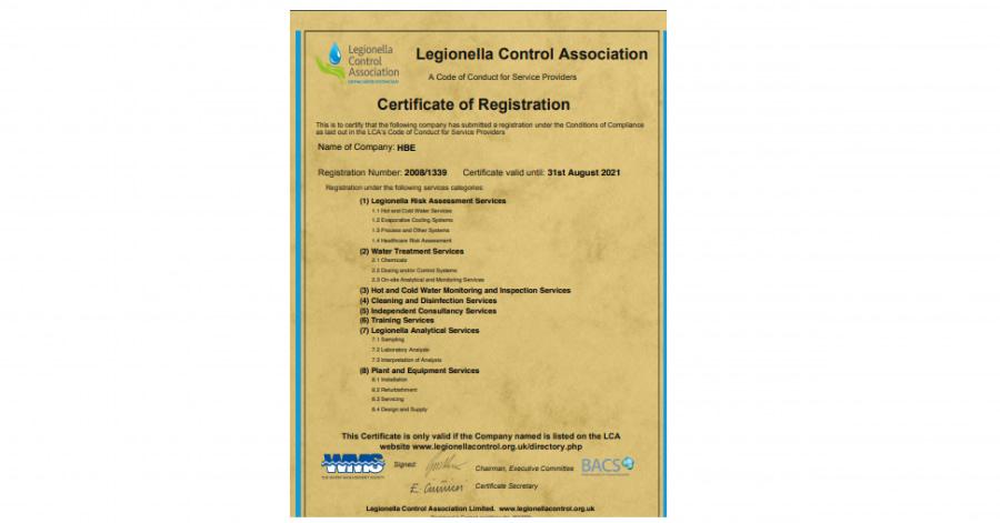 Legionella Control Association (LCA)Registration Certificate