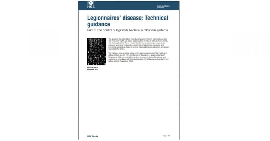HSG 274 Part 3: The control of legionella bacteria in other risk systems